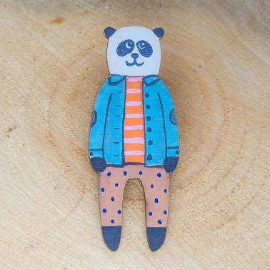 Blue Jacket Panda brooch