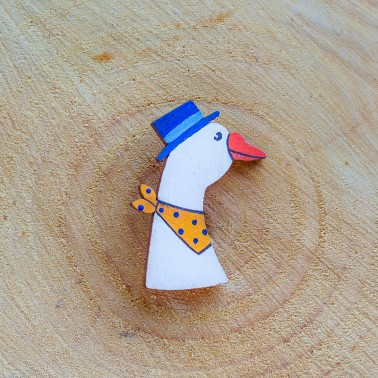 Goose With Blue Hat brooch