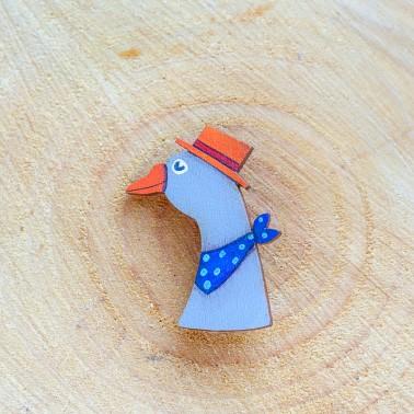 Goose With Orange Hat brooch