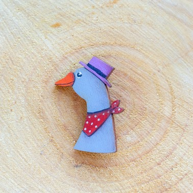 Goose With Purple Hat brooch