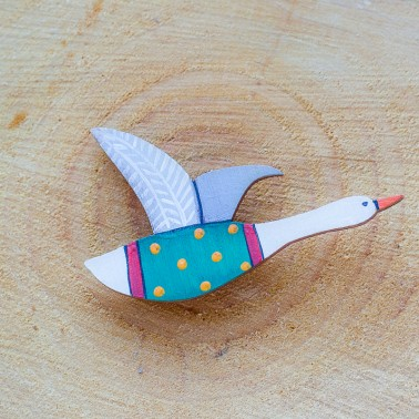 Green Flying Goose brooch