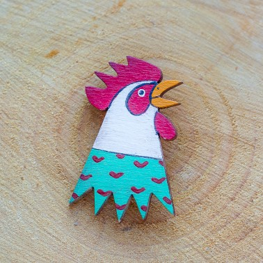 Green Rooster brooch