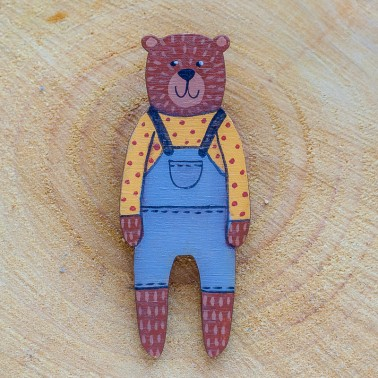 Grey Overall Bear brooch