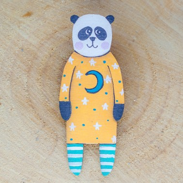 Moon Dress Panda brooch