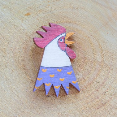Purple Rooster brooch