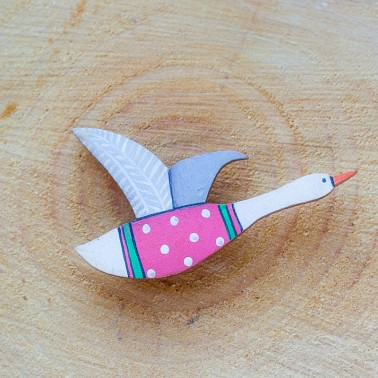 Red Flying Goose brooch