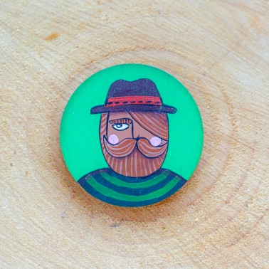 Round Hipster Green brooch