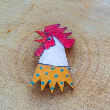 Yellow Rooster brooch