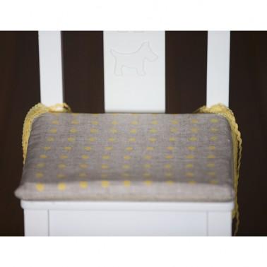 Yellow Dots child's chair cushion