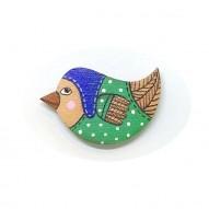 Blue Hat Birdie brooch