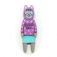 Good Day Jumper Cat brooch
