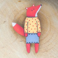 Grey Skirt Fox brooch