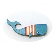 Orange Stripes Whale brooch