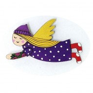 Purple Dress Red Socks Angel brooch