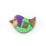 Purple Hat Birdie brooch