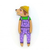 Purple Overall Doggy brooch