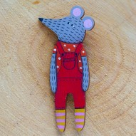 Red Overall Mouse brooch