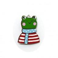 Red Stripes Frog brooch