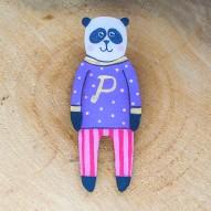 Stripy Pants Panda brooch