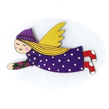 Purple Dress Red Socks Angel брошь