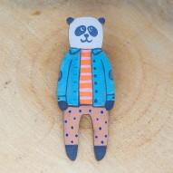 Blue Jacket Panda брошь