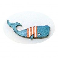 Orange Stripes Whale брошь